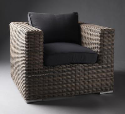 Black Outdoor Rattan Armchair