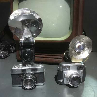 Vintage cameras with flash units