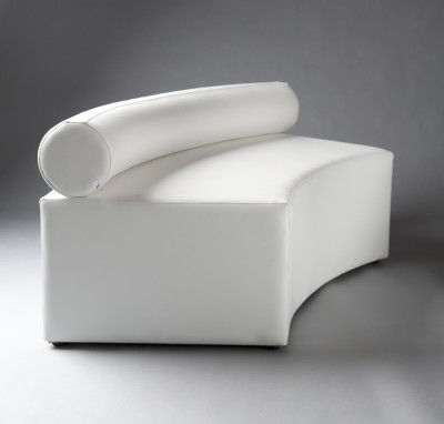 White Single Bolster Curved Modular Sofa