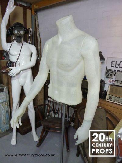 Male fibre glass mannequin torso on stand