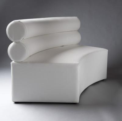 White Double Bolster Curverd Modular Sofa