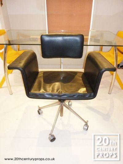 Scandinavian black leather office swivel chair