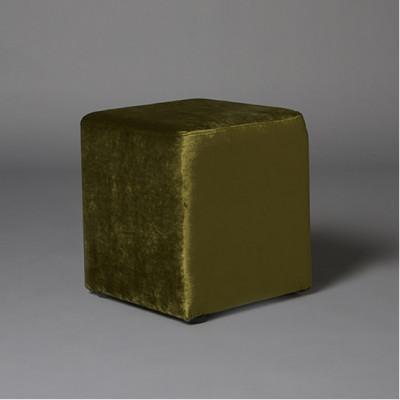 Small Green Velvet Square Pouf