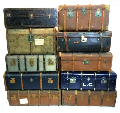Stack of Various Large Vintage Travel Trunks