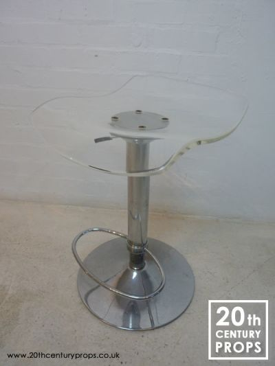 Retro chrome and acrylic pump action  stool