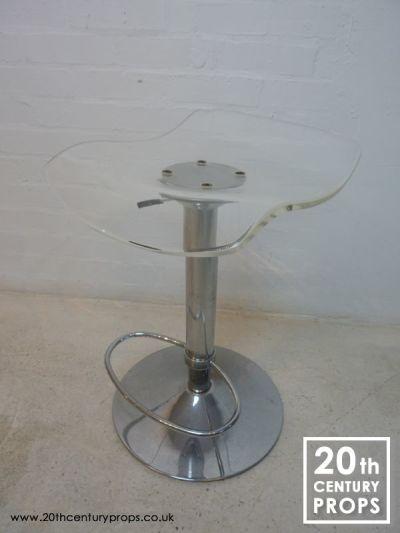 Retro chrome and acrylic pump action  stool