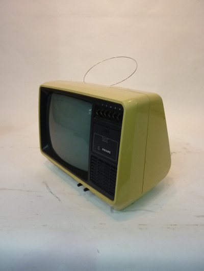 White 1980's Portable TV