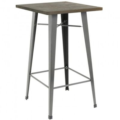 Tall Poseur Table with Wooden Top