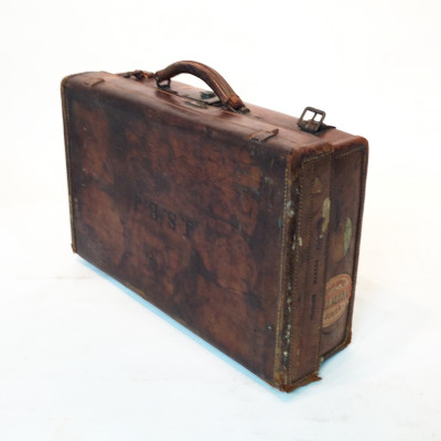 Dark Brown Stained Leather Vintage Suitcase with Initials