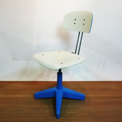 Blue and White Industrial Chair