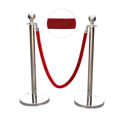 Stanchion posts with red velvet rope