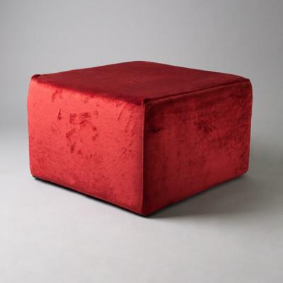 Large Red Velvet Square Pouf