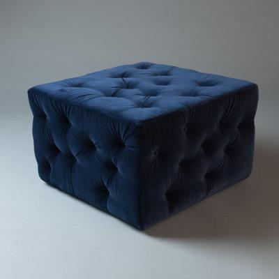 Large Blue Square Pouf