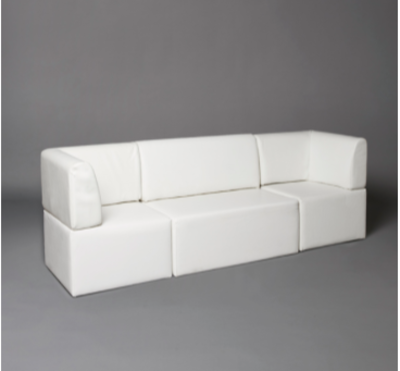 White Straight Back Modular Seat Sofa