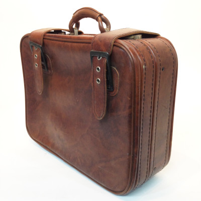 Light Brown Soft Leather Suitcase