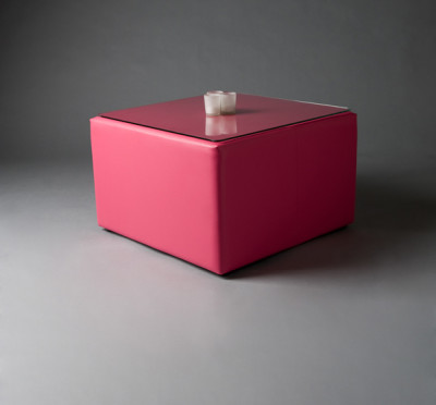 Pink Square Pouf Table