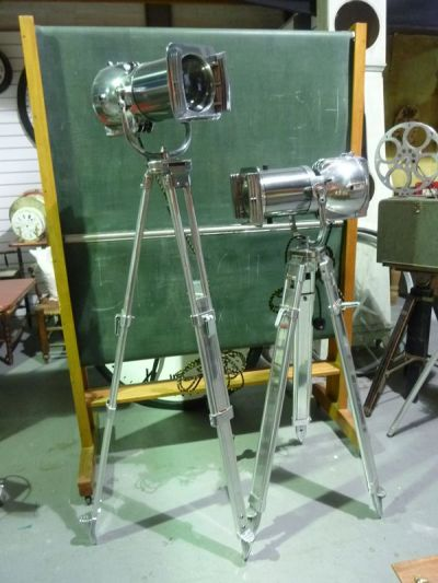 Vintage 'STRAND ELECTRIC' Polished Chrome Spotlights on Polished Tripods