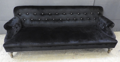 Black velvet 3 seater sofa