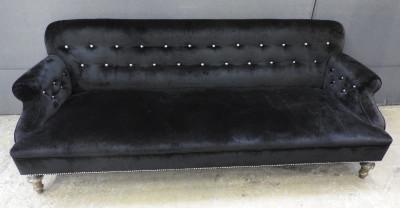 Black velvet 3 seater sofa