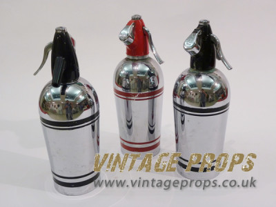Vintage Chrome Soda Bottles