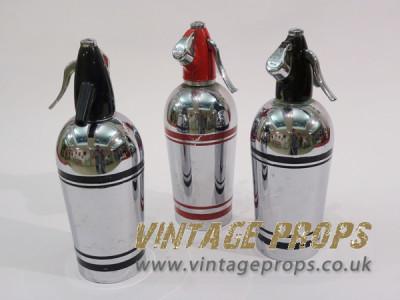 Vintage Chrome Soda Bottles