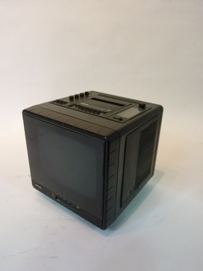 Black Mini Portable 1980's TV, Radio and Cassette Player