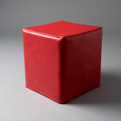 Small Red Square Pouf