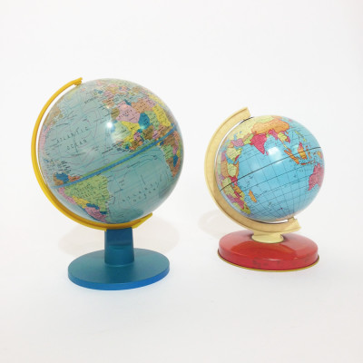 Small vintage tin globes