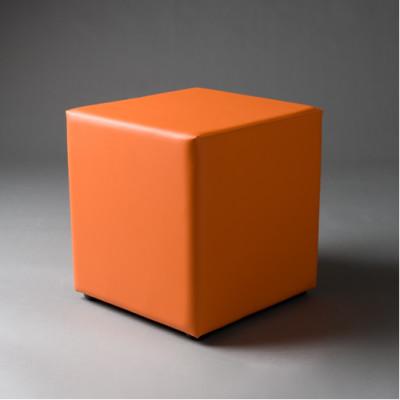 Small Orange Square Pouf