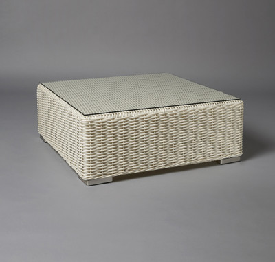 White Base Rattan Table