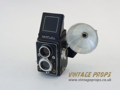 Semflex vintage camera with flash light