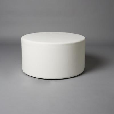 Large White Round Pouf