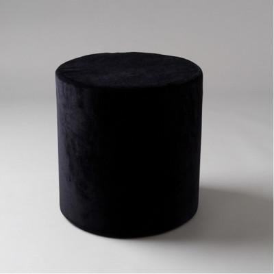 Small Black Velvet Round Pouf