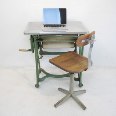 Industrial desk with polished aluminium top