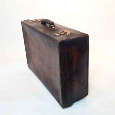Dark Brown Stained Leather Vintage Suitcase