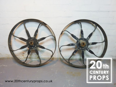 Pair of wrought iron wheels