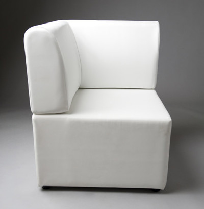 White Straight Back Corner Modular Seat