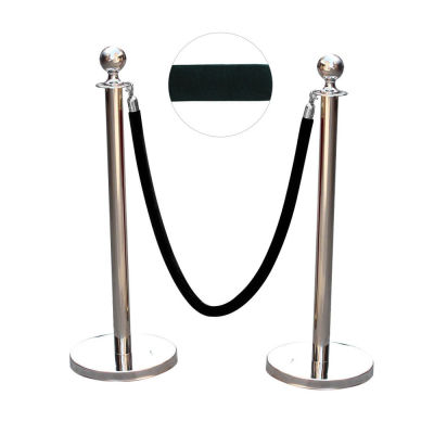 stanchion posts with black velvet rope