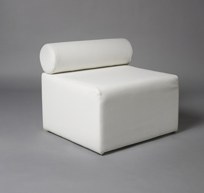 White Single Bolster 70cm Length Modular Sofa