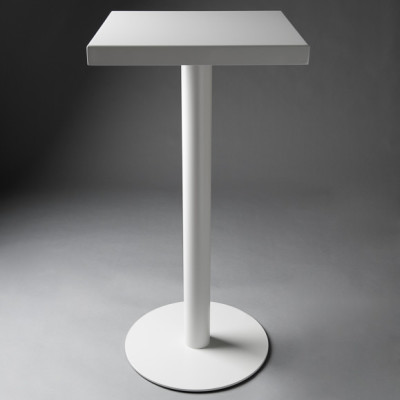 White Square Poseur Table with curved corners