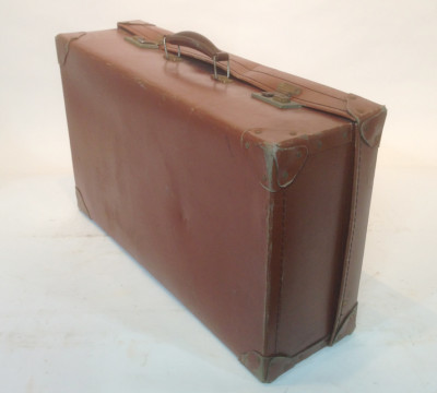 Medium Light Brown Leather Suitcase