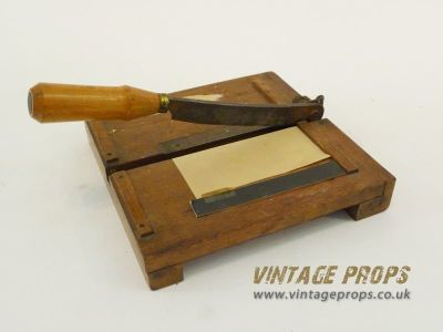 Small wooden paper guillotine