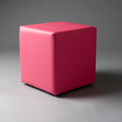 Small Pink Square Pouf