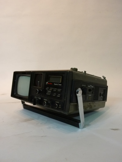 Black Mini Mini Portable 1980's TV