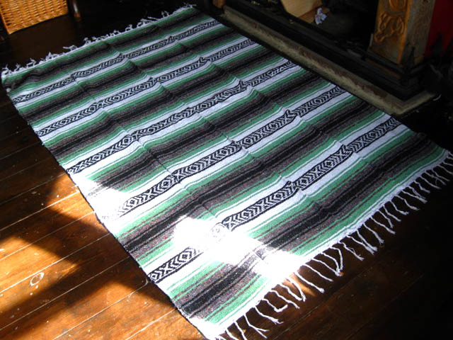 Large mexican blanket rug lincoln green stripe handmade for 183 cm in feet and inches
