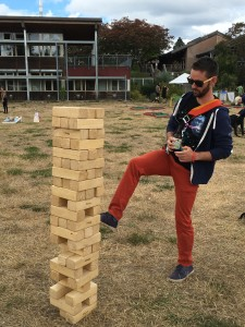 RJ at the 2016 company picnic, versing me in a round of foot Jenga.