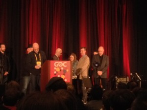 Guy and Jaclyn accept a GANG award at GDC 2015.