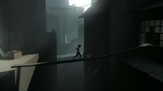 A boy runs across a dangerous plank in a screenshot of Playdead's INSIDE.