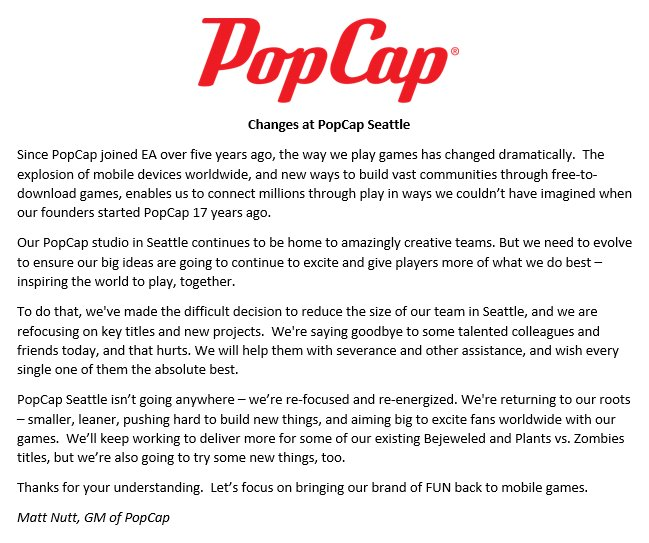 A message re: the 05/2017 PopCap layoffs.