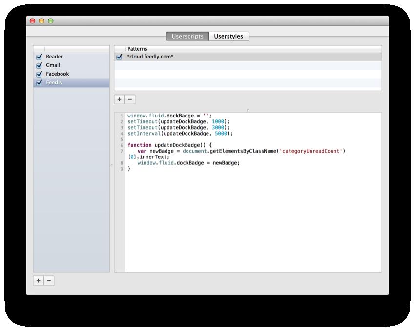 Setting of userscript